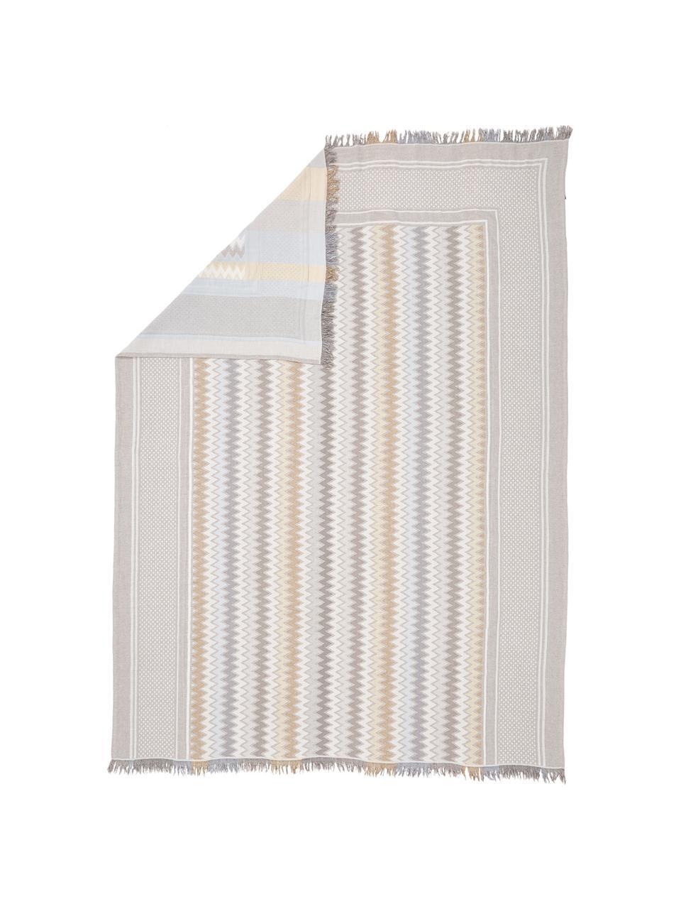 Gemusterte Tagesdecke Oglio, 100% Baumwolle, Beige, B 180 x L 235 cm (für Betten bis 140 x 200)