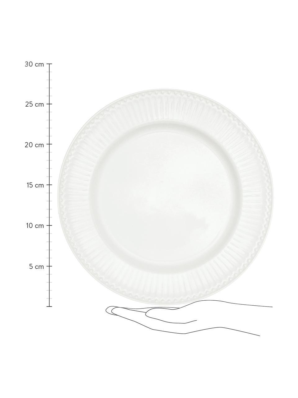Ręcznie wykonany talerz duży Alice, 2 szt., Kamionka, Biały, Ø 27 cm