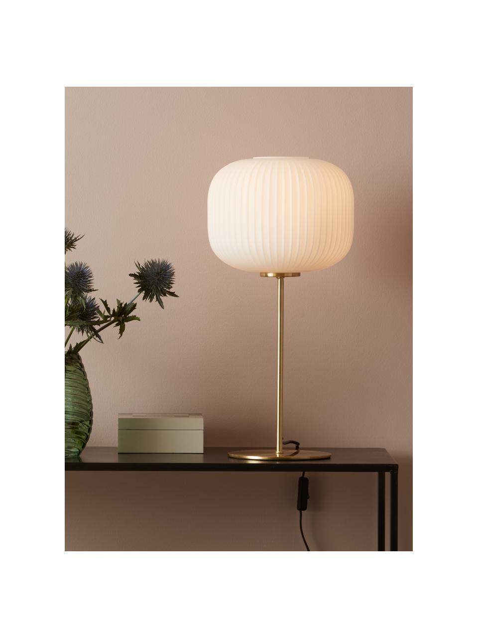 Große Tischlampe Sober mit Glasschirm, Lampenschirm: Glas, Lampenfuß: Metall, gebürstet, Weiß, Gold, Ø 25 x H 50 cm