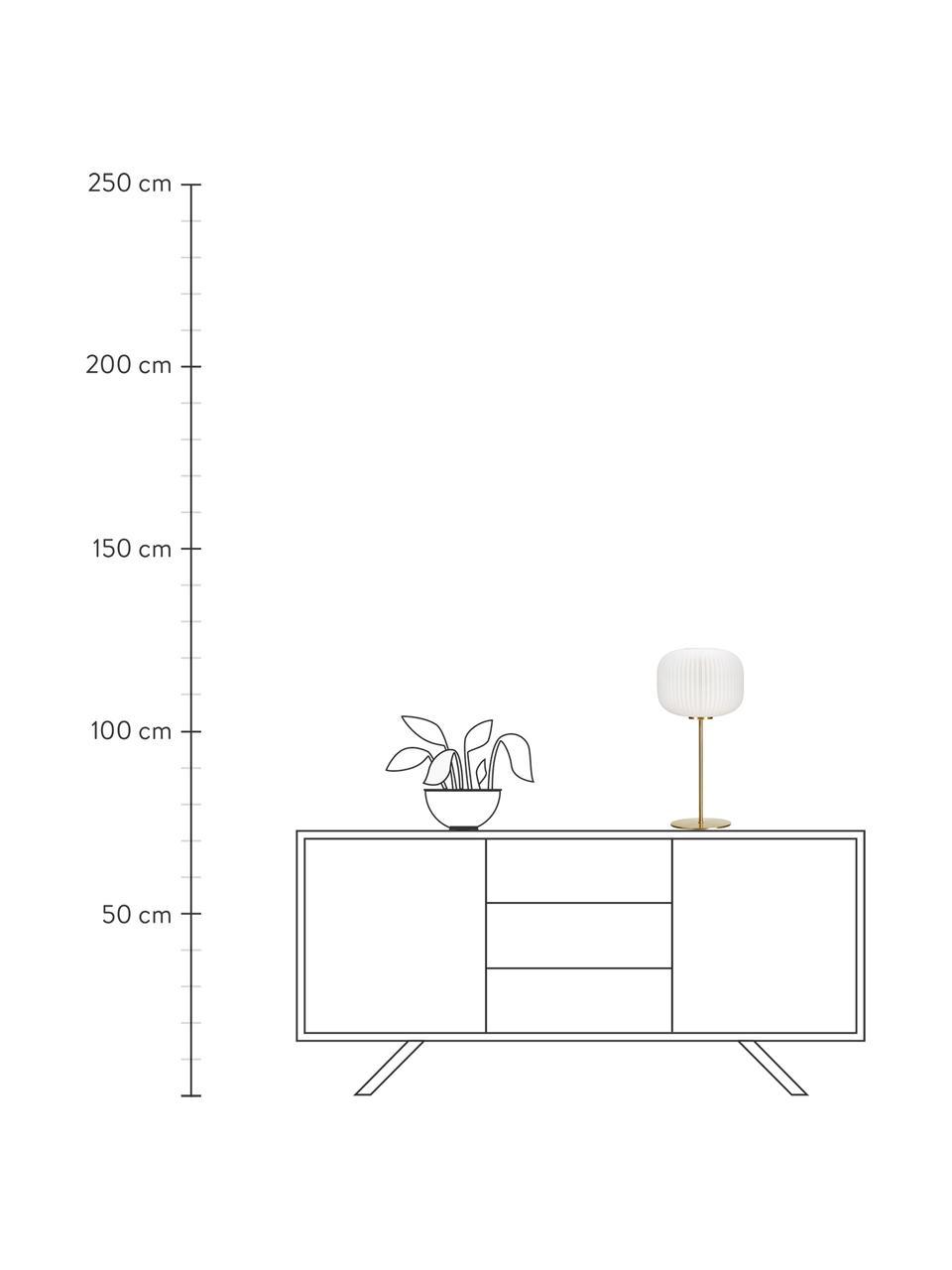 Lampada da tavolo con paralume in vetro Sober, Base della lampada: metallo spazzolato, Paralume: vetro, Bianco, oro, Ø 25 x Alt. 50 cm