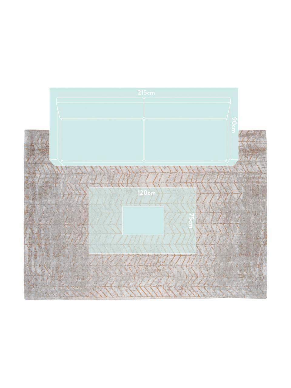 Tappeto con motivo a zigzag dorato J. Ladder, Tessuto: Jacquard, Retro: Miscela di cotone, rivest, Tonalità grigie, bianco latteo, dorato, Larg. 140 x Lung. 200 cm (taglia S)