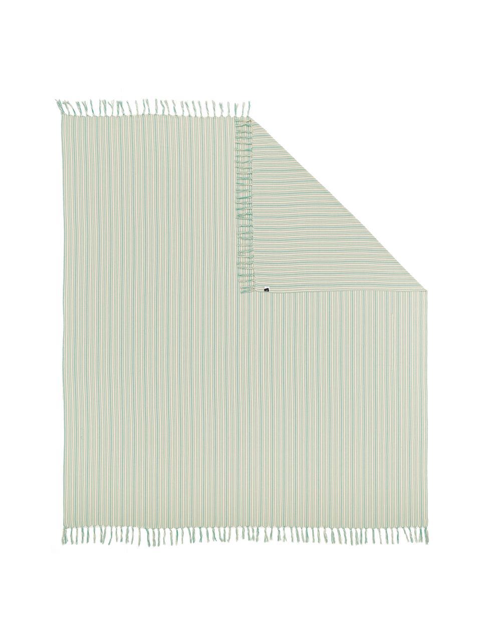 Narzuta z frędzlami Puket, 100% bawełna, Turkusowy, złamana biel, S 240 x D 260 cm (na łóżka do 160 x 200)