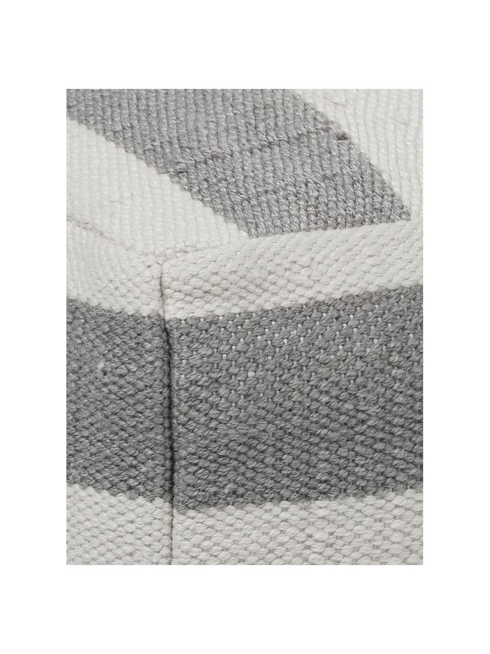 Cojín de suelo artesanal para interior/exterior Lani, Funda: 100%poliéster reciclado, Gris, crudo, An 63 x Al 30 cm