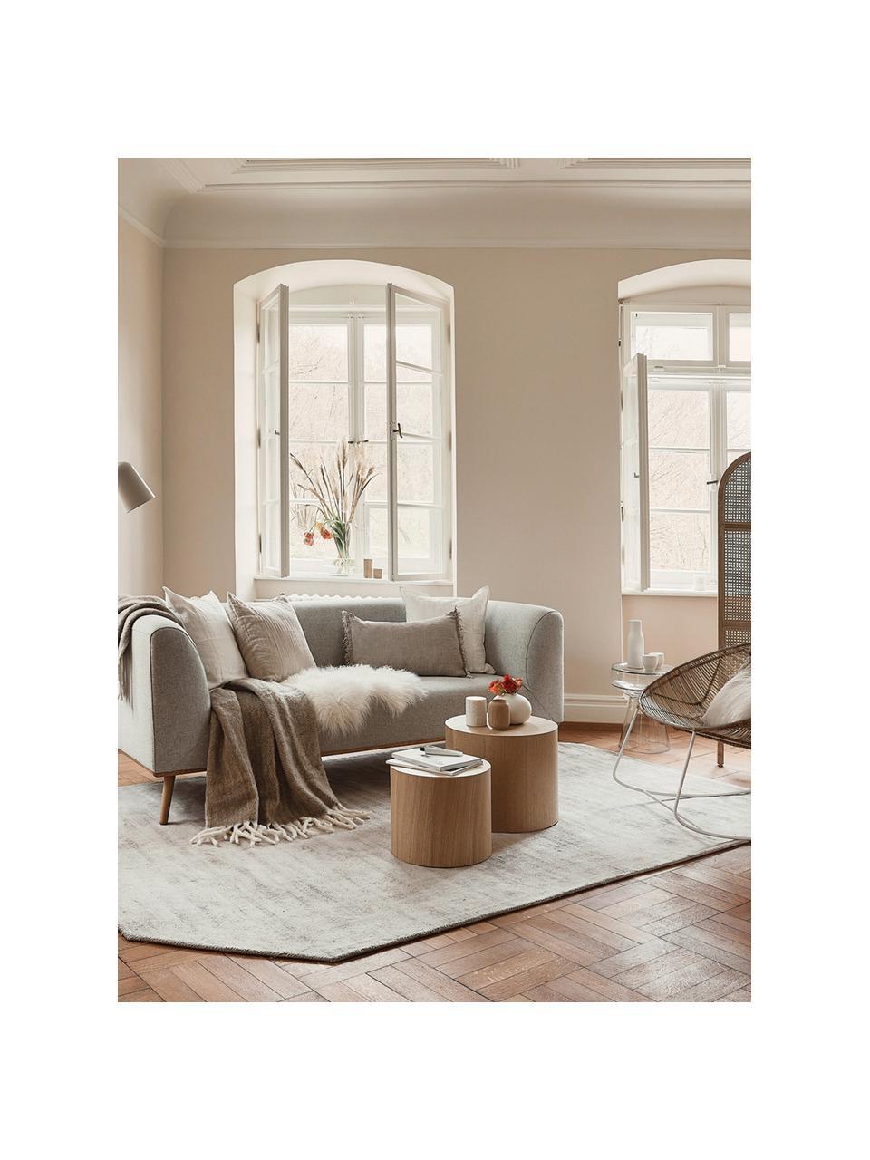 Divano  2 posti in tessuto beige Archie, Rivestimento: 100% lana 30.000 cicli di, Struttura: legno di pino, Piedini: legno di quercia massicci, Tessuto beige, Larg. 162 x Prof. 80 cm