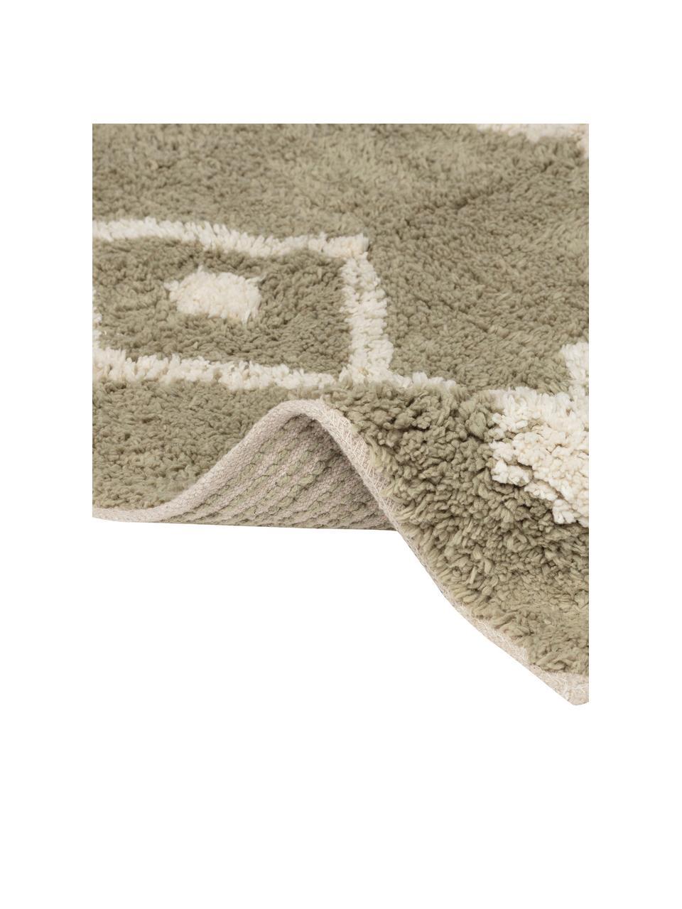 Dywanik łazienkowy z chwostami w stylu boho Fauve, 100% bawełna, Beżowy, biały, S 50 x D 70 cm