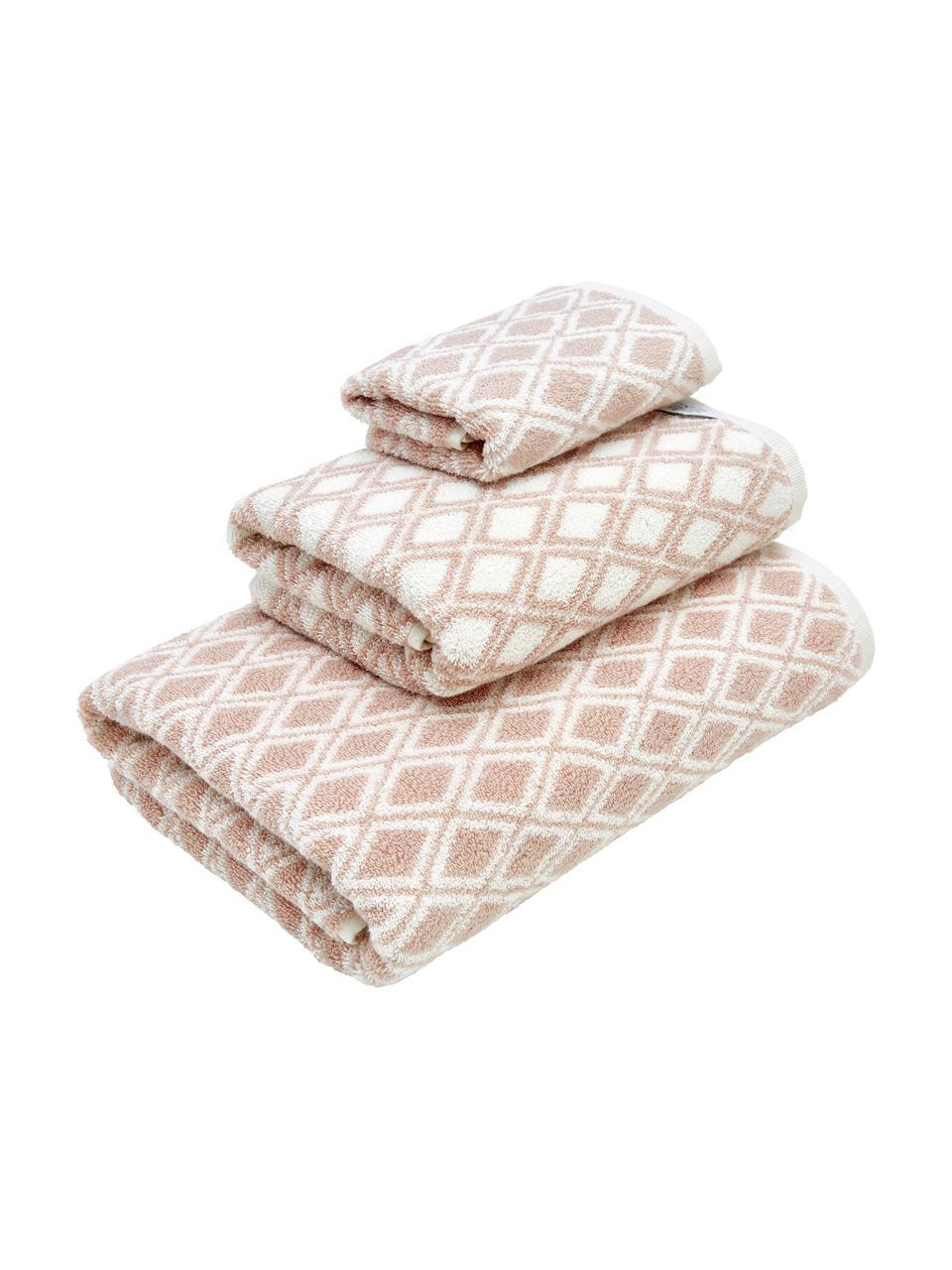 Lot de serviettes de bain réversibles Ava, 3 élém., Rose, blanc crème