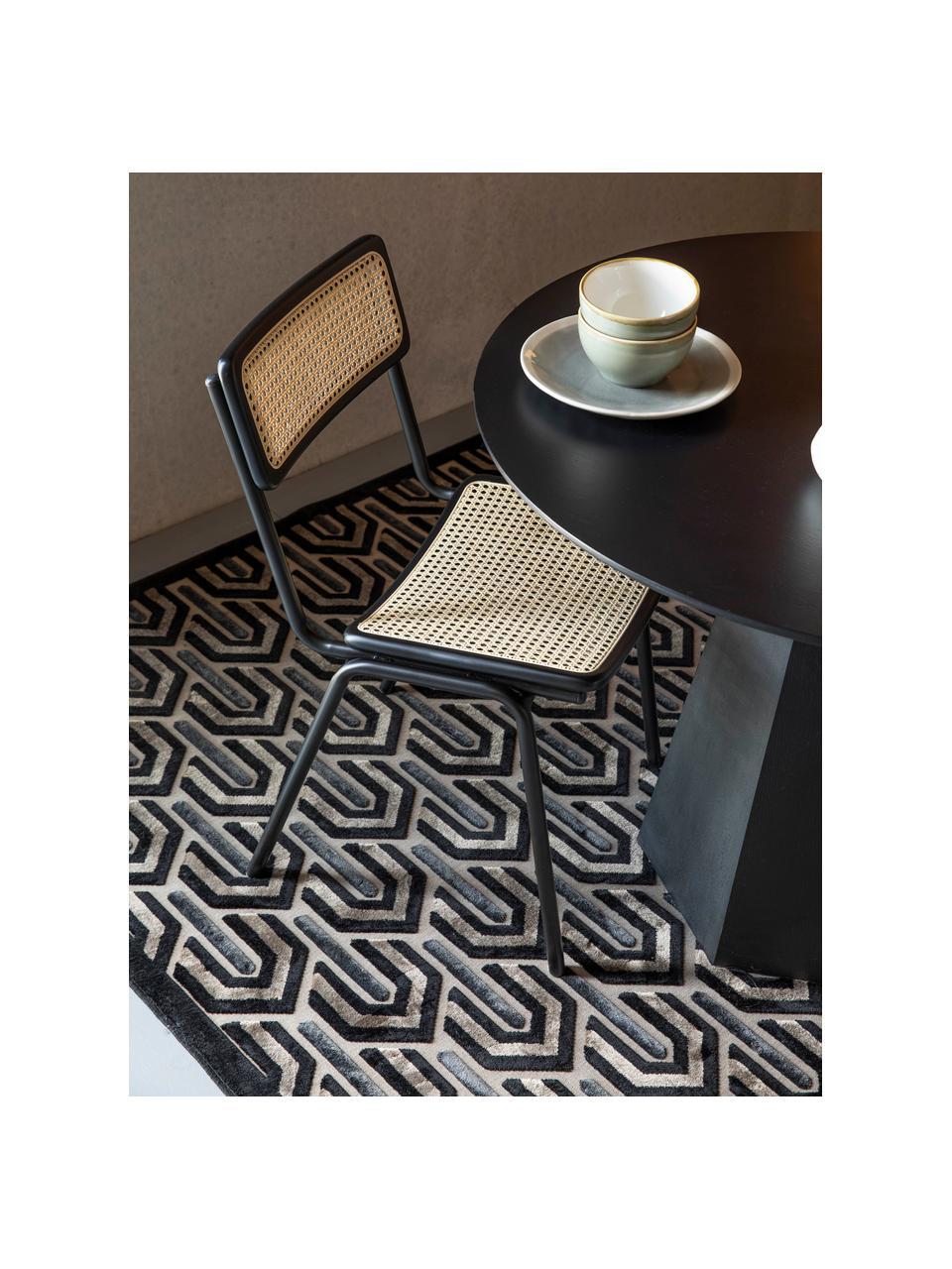 Koberec s různou výškou povrchu v retro stylu Beverly, Černá, béžová, šedá