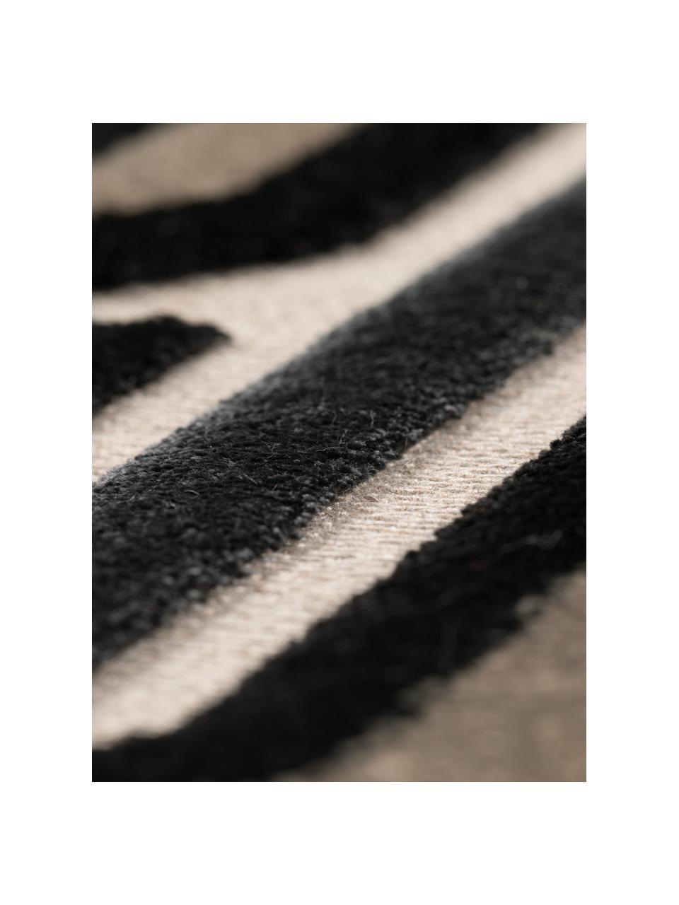 Teppich Beverly im Retro Style mit Hoch-Tief-Struktur, Flor: 57% Rayon, 31% Polyester,, Schwarz, Beige, Grau, B 200 x L 300 cm (Größe L)