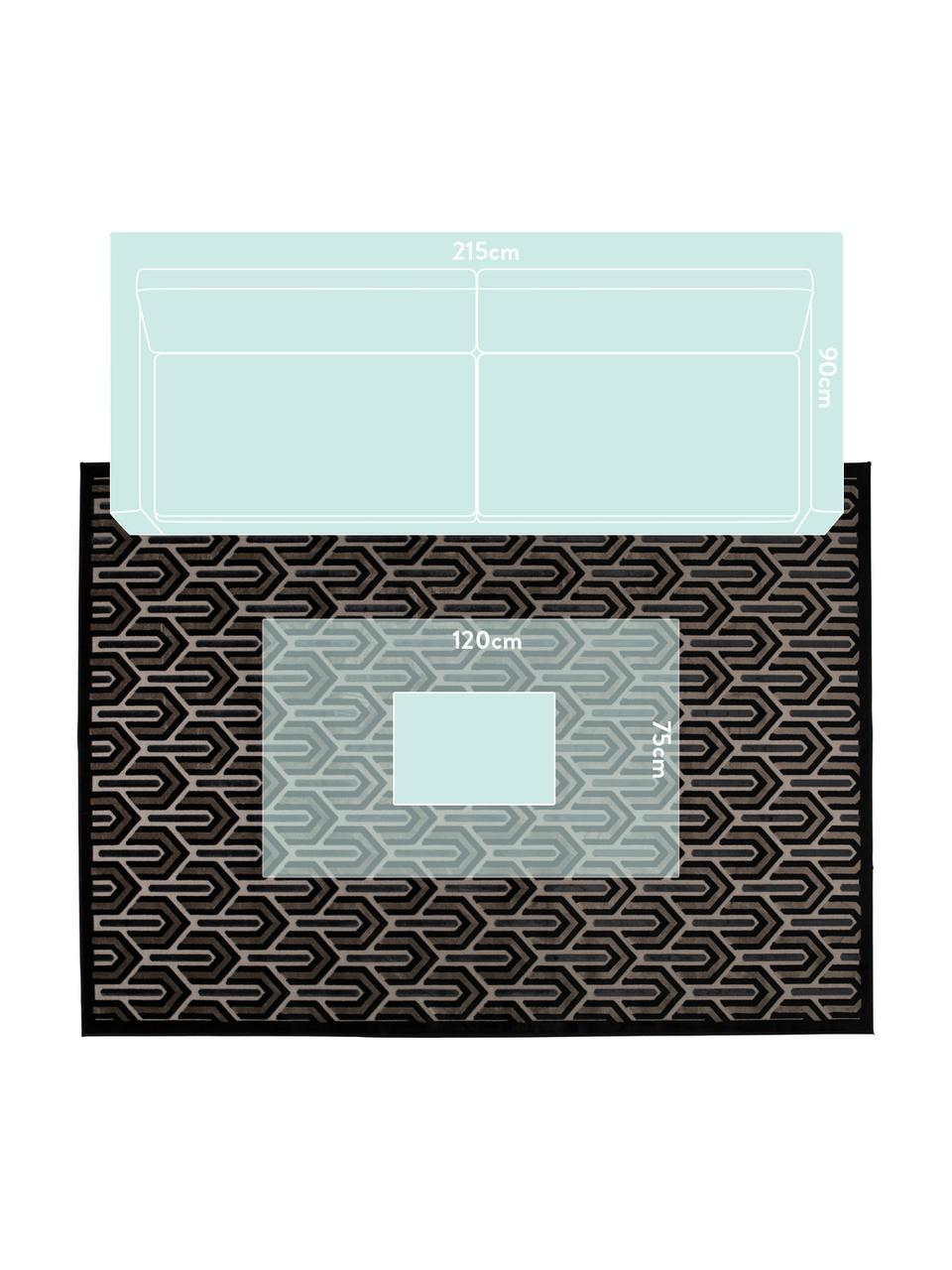 Dywan w stylu retro z wypukłą strukturą Beverly, Czarny, beżowy, szary, S 200 x D 300 cm (Rozmiar L)