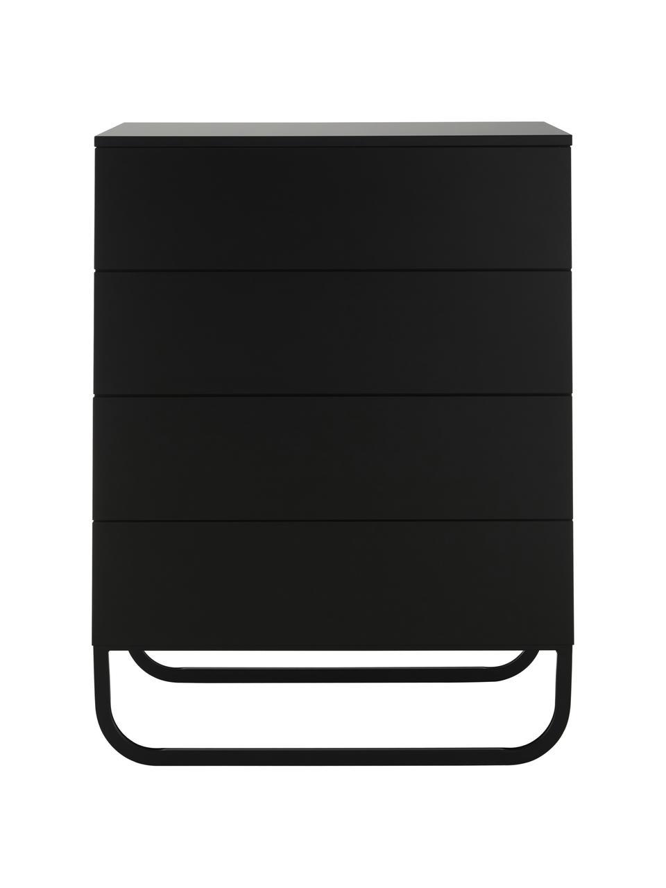 Schubladenkommode Sanford in Schwarz, Korpus: Mitteldichte Holzfaserpla, Fußgestell: Metall, pulverbeschichtet, Schwarz, 80 x 106 cm