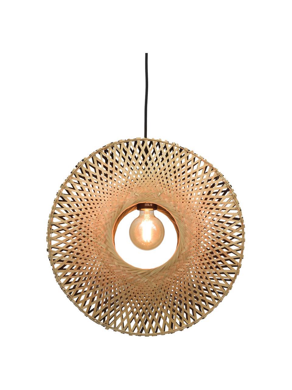 Hanglamp Kalimantan van bamboehout, Lampenkap: bamboe, Baldakijn: gecoat metaal, Beige, zwart, Ø 44 x H 44 cm