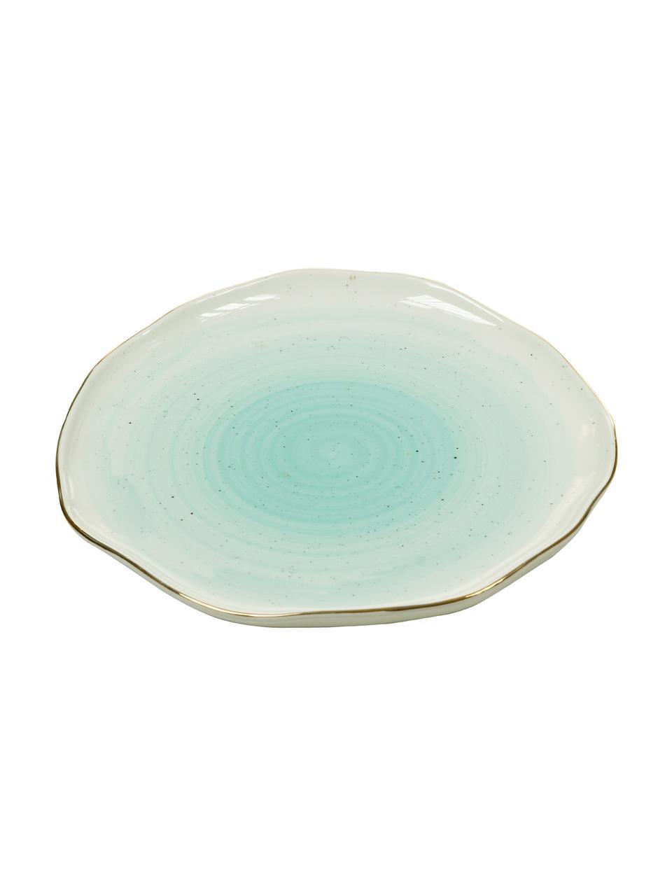 Ręcznie wykonany talerz śniadaniowy Bella, 2 szt., Porcelana, Turkusowoniebieski, Ø 19 x W 3 cm