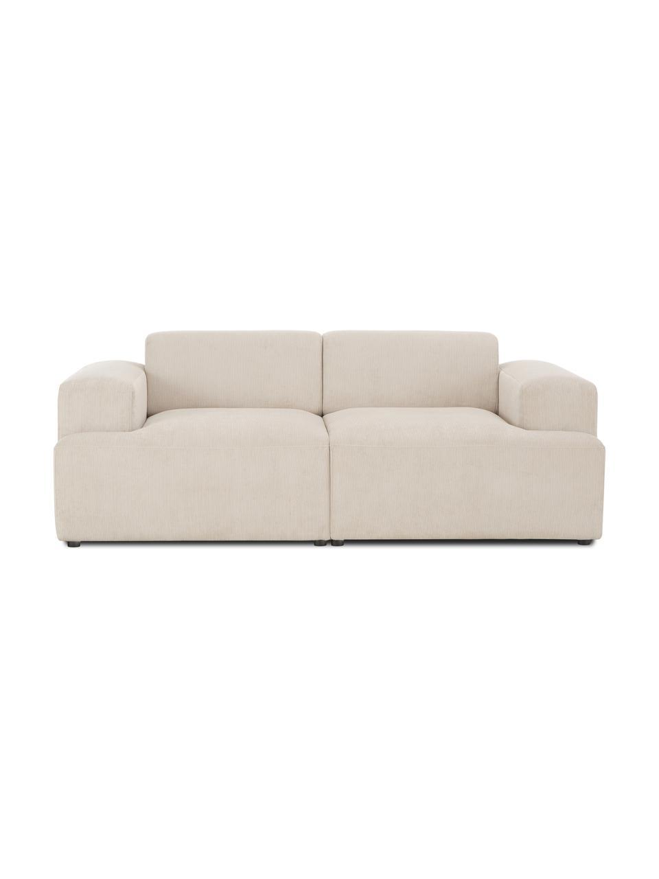 Sofa ze sztruksu Melva (2-osobowa), Tapicerka: sztruks (92% poliester, 8, Stelaż: lite drewno sosnowe, cert, Nogi: tworzywo sztuczne, Sztruksowy beżowy, S 198 x G 101 cm
