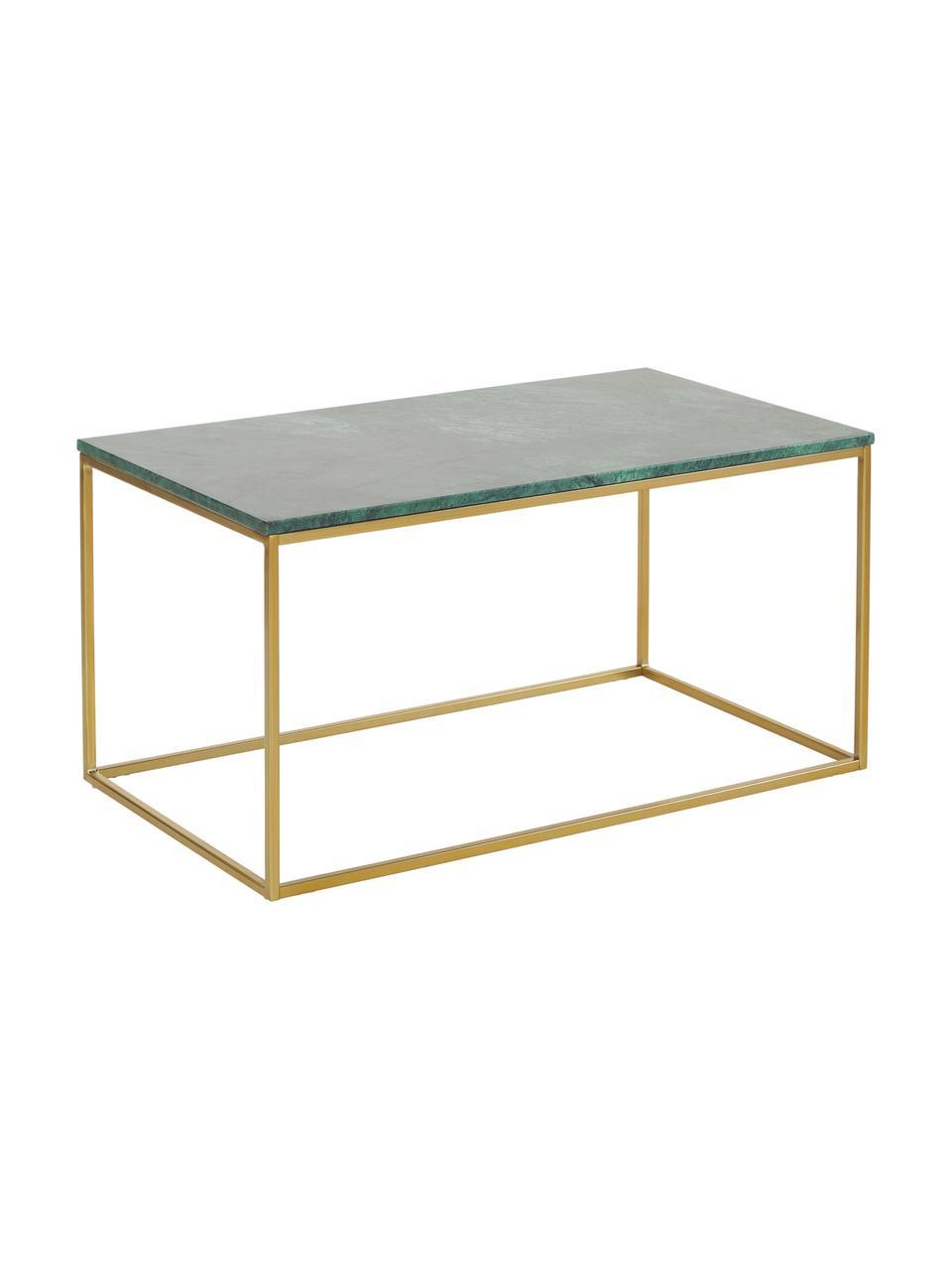 Marmor-Couchtisch Alys, Tischplatte: Marmor, Gestell: Metall, pulverbeschichtet, Grüner Marmor, Goldfarben, 80 x 40 cm