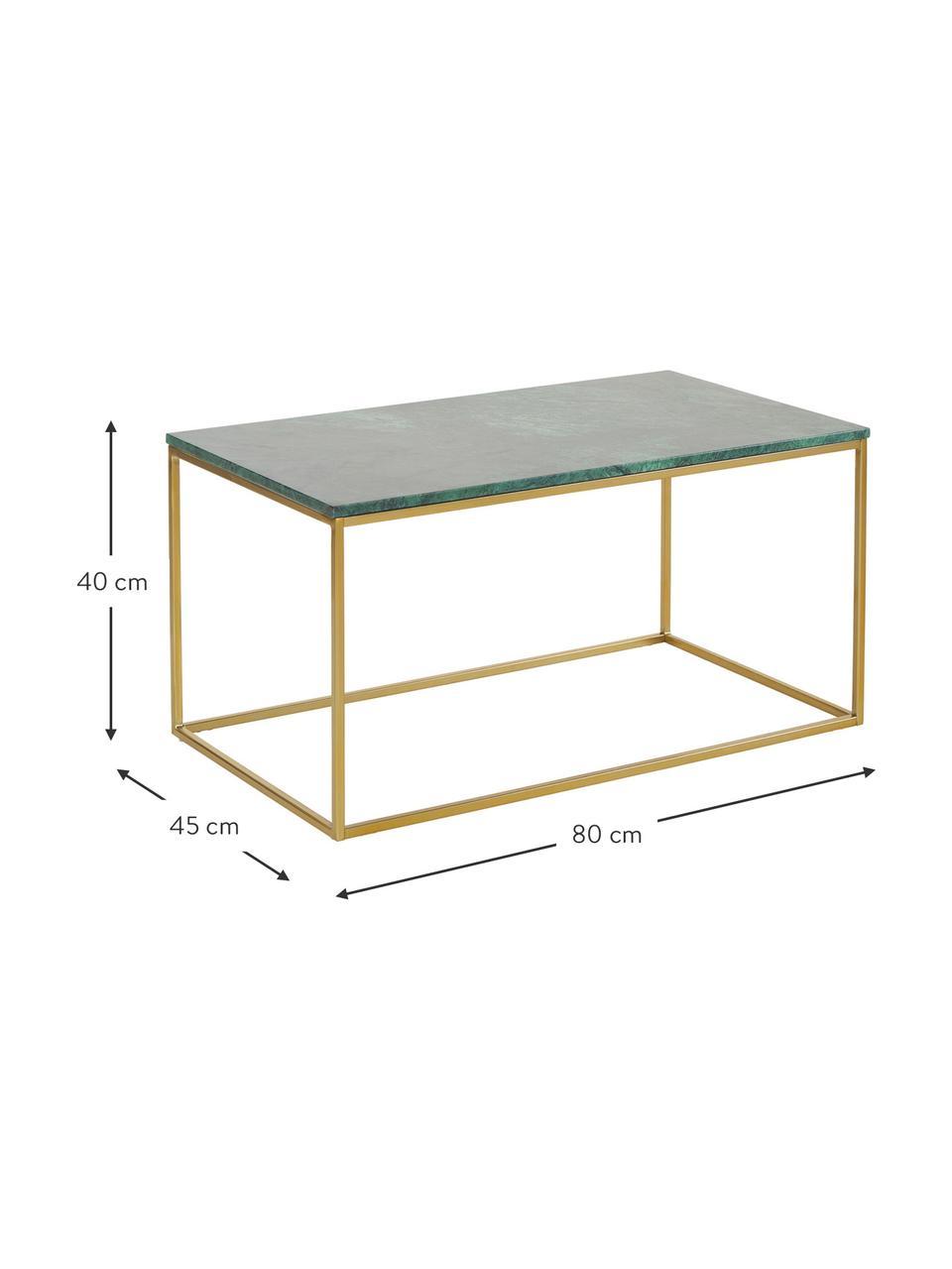 Tavolino da salotto con piano in marmo Alys, Piano d'appoggio: pietra naturale di marmo, Struttura: metallo verniciato a polv, Marmo verde, dorato, Larg. 80 x Alt. 40 cm