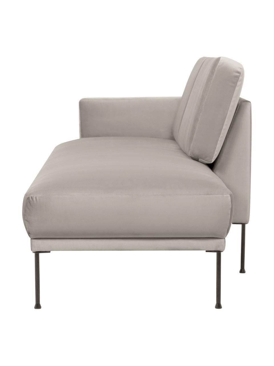 Fluwelen chaise longue Fluente in beige met metalen poten, Bekleding: fluweel (hoogwaardig poly, Frame: massief grenenhout, Poten: gepoedercoat metaal, Fluweel beige, B 202 x D 85 cm