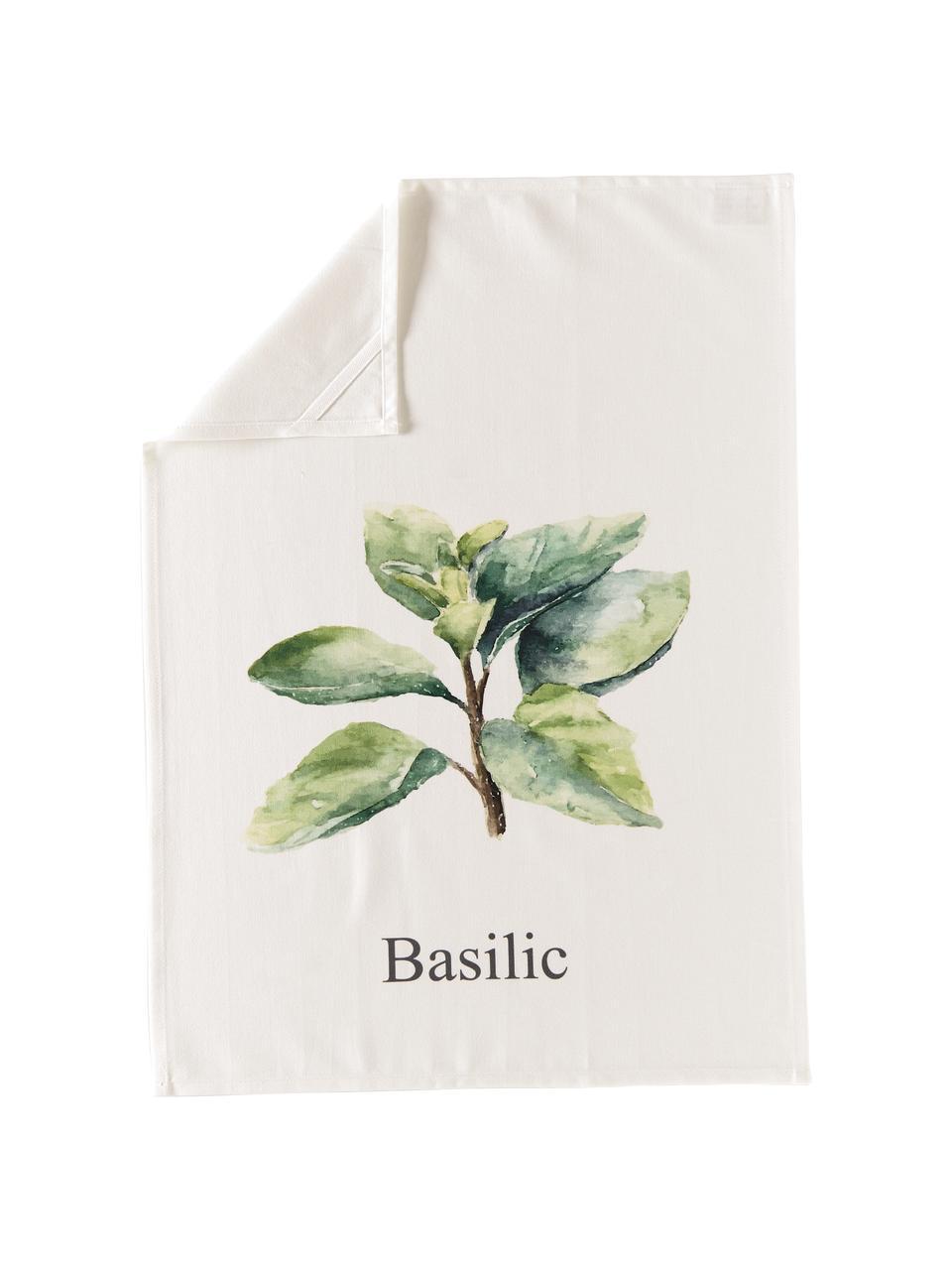 Baumwoll-Geschirrtücher-Set Aroma mit Gewürz-Motiven, 5-tlg., Baumwolle, Gebrochenes Weiß, Grüntöne, 50 x 70 cm