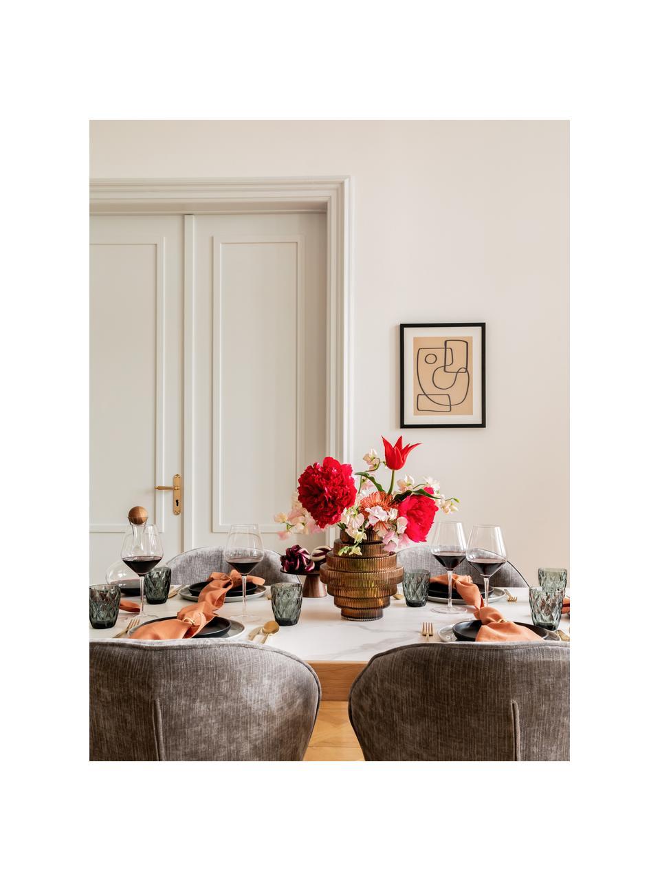 Mondgeblazen bolvormige rode wijnglazen Ays, 4 stuks, Glas, Transparant, Ø 7 x H 25 cm
