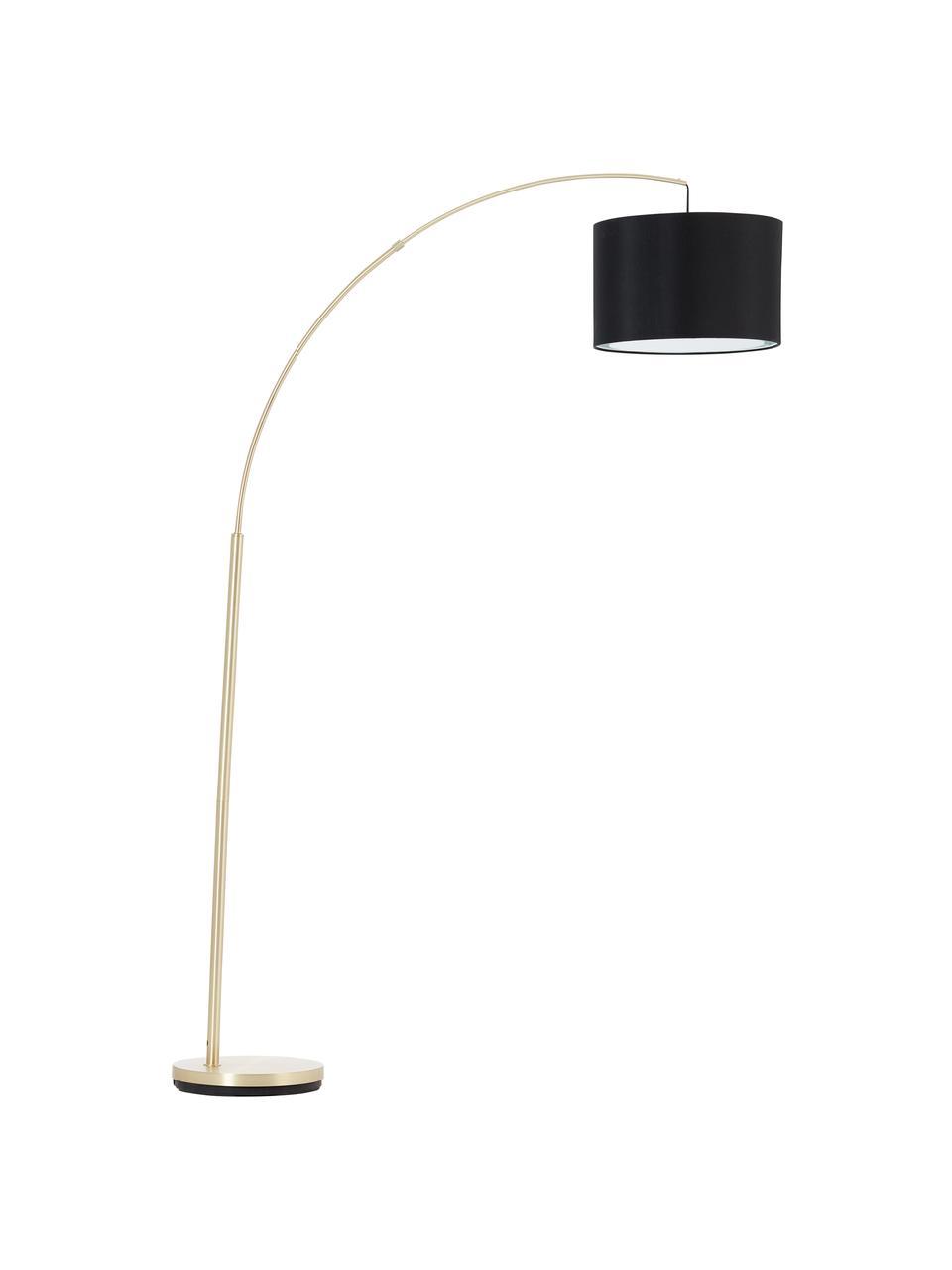 Große Bogenlampe Clarie in Messing, Lampenschirm: Textil, Lampenfuß: Metall, gebürstet, Schwarz, Messingfarben, 113 x 180 cm