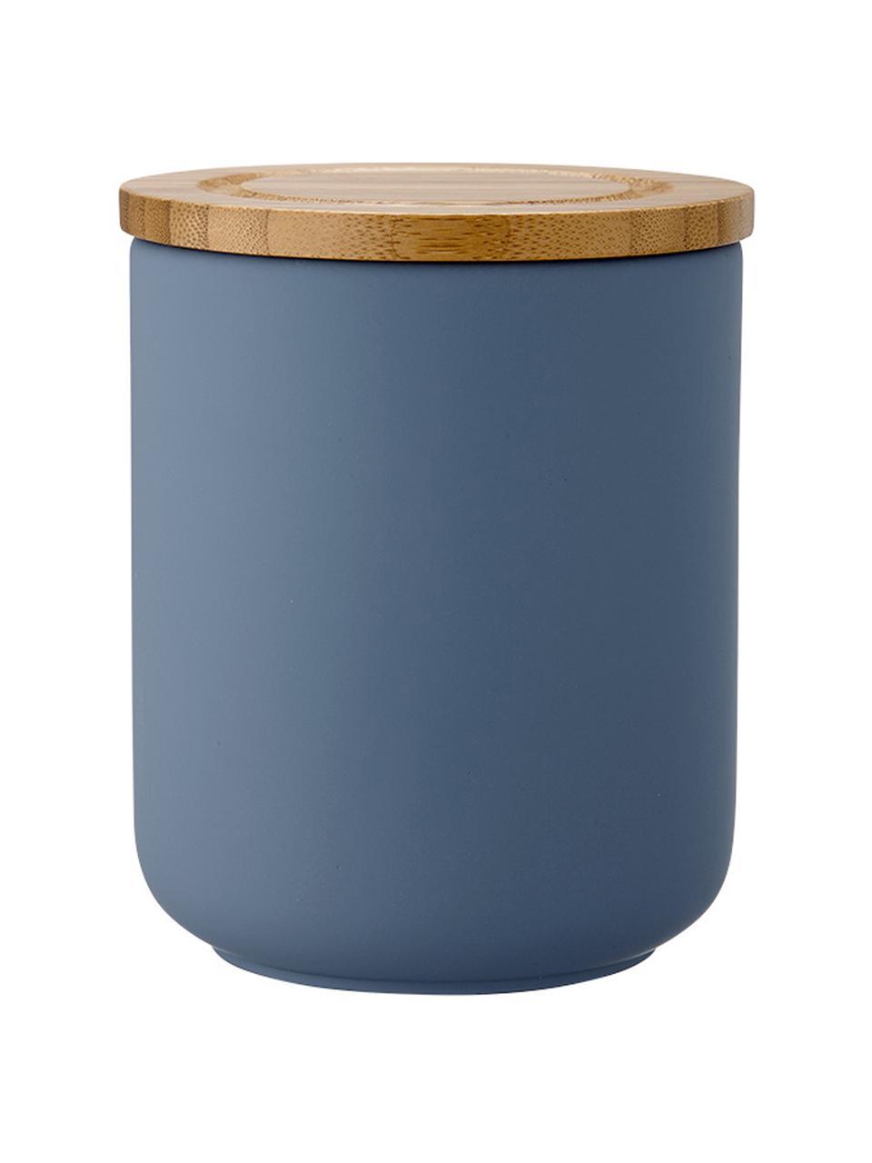 Barattolo con coperchio Stak, Coperchio: legno di bambù, Blu opaco, bambù, Ø 10 x Alt. 13 cm