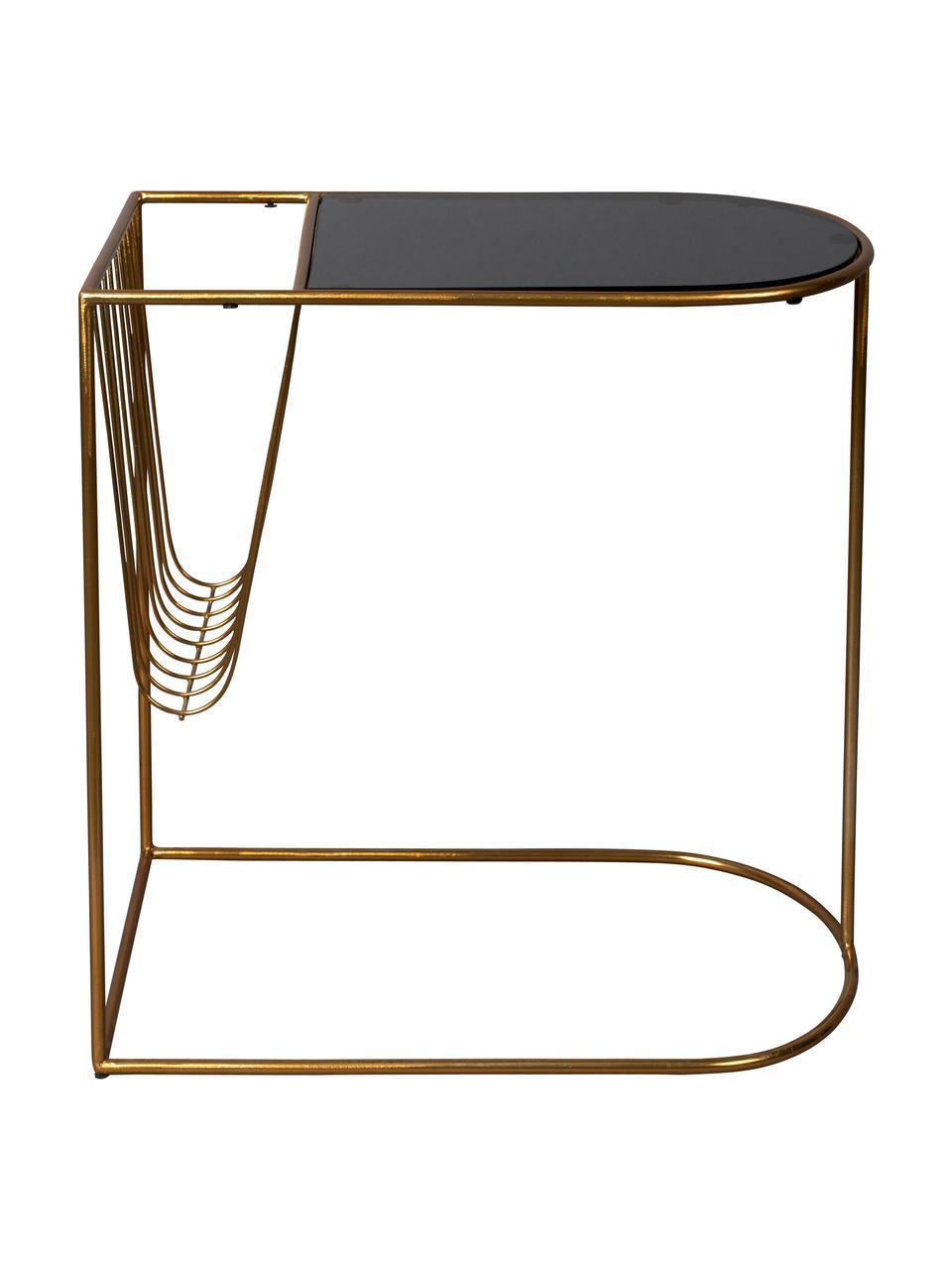 Table d'appoint en métal avec porte-revuesEileen, Couleur laitonnée, noir
