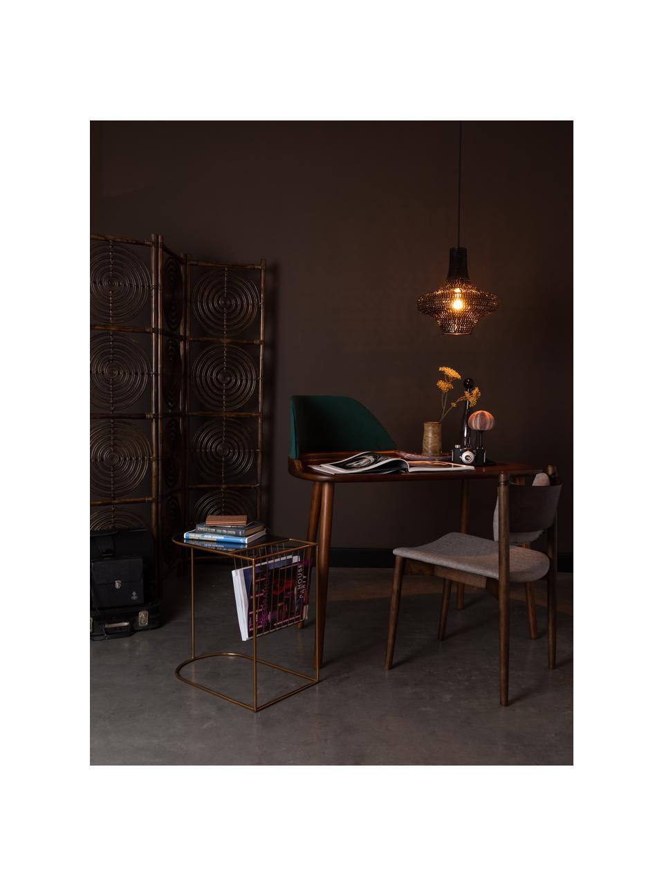 Metalen bijzettafel Eileen met tijdschriftenhouder, Frame: gepoedercoat metaal, Tafelblad: gehard glas, Messingkleurig, zwart, 51 x 32 cm