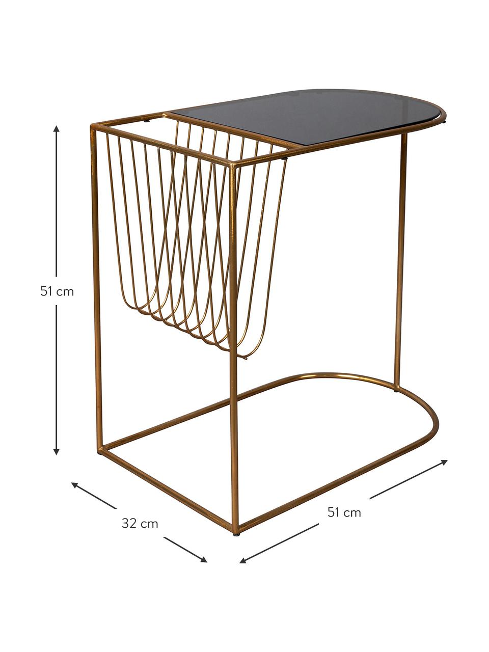 Stolik pomocniczy z metalu z uchwytem na czasopisma Eileen, Stelaż: metal malowany proszkowo, Blat: szkło hartowane, Odcienie mosiądzu, czarny, S 51 x G 32 cm