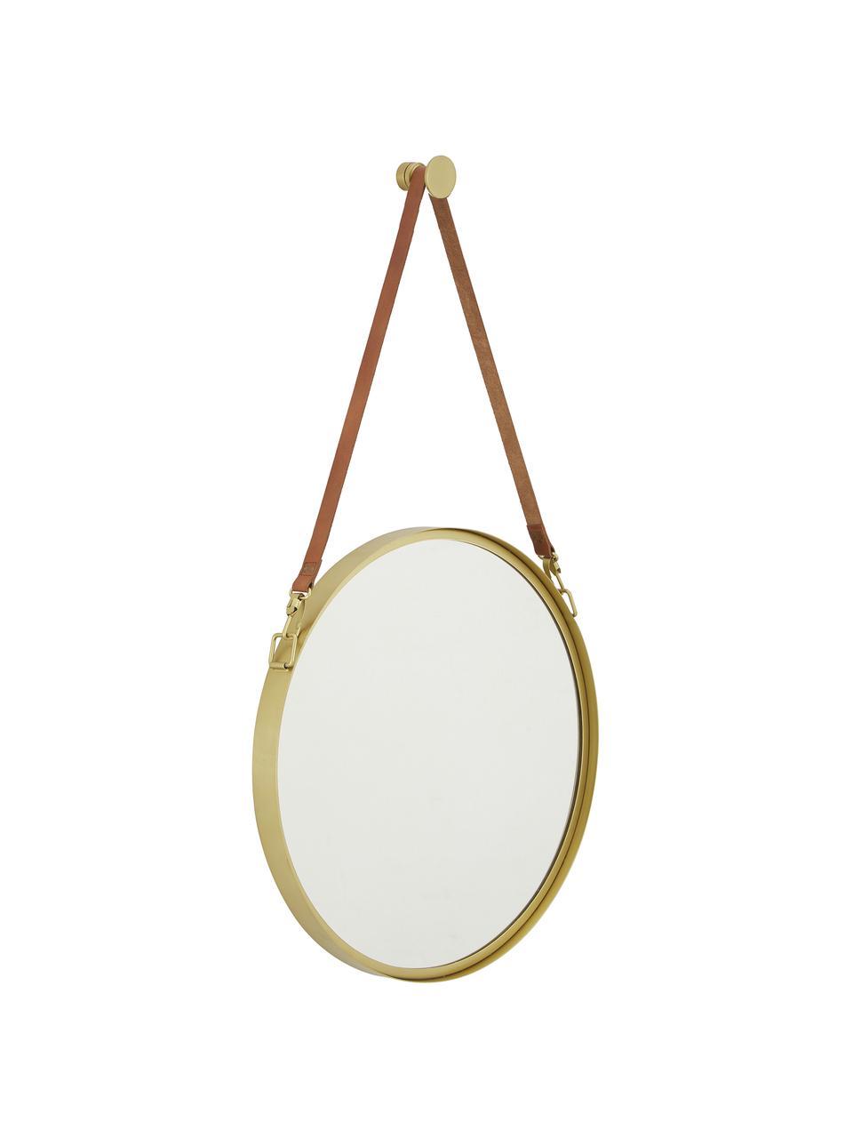Specchio rotondo da parete con cinghia in pelle Liz, Superficie dello specchio: lastra di vetro, Retro: pannello di fibra a media, Oro, Ø 40 cm