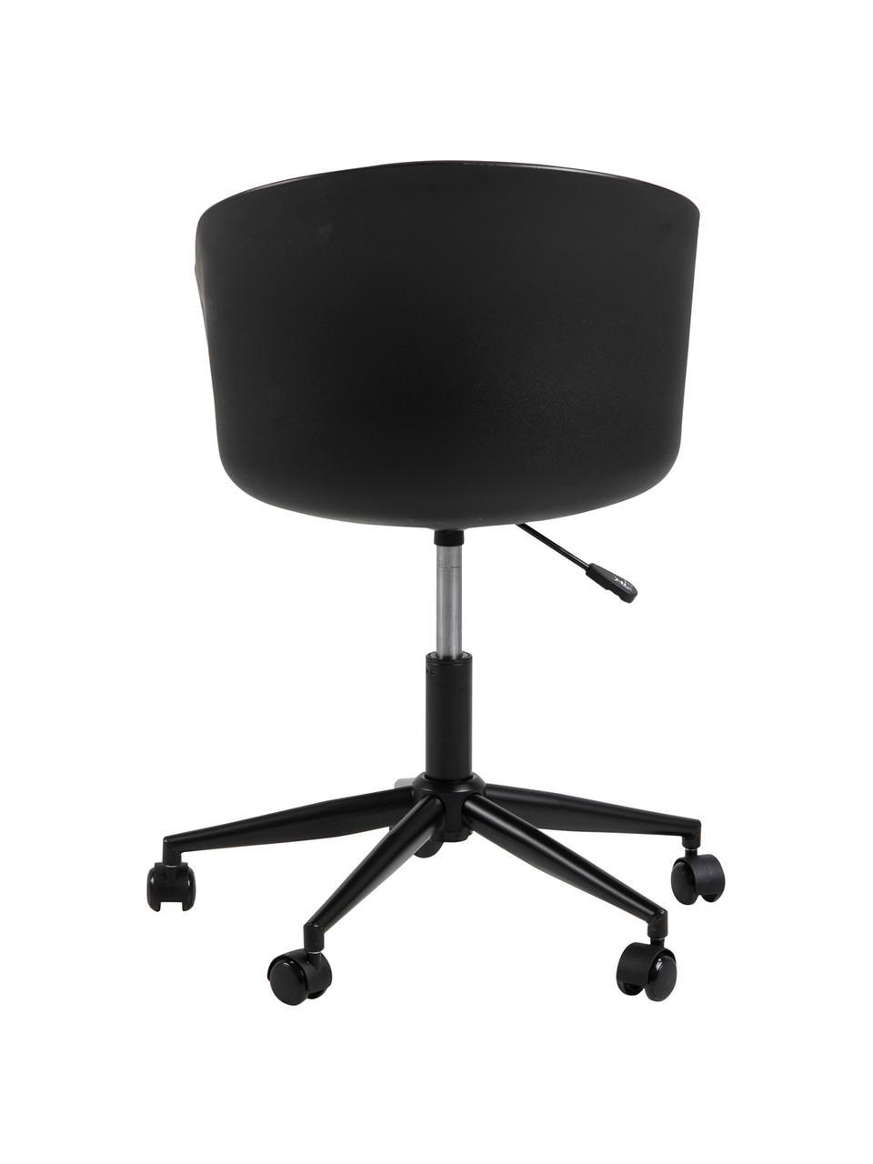Krzesło biurowe Moon, obrotowe, Nogi: metal mosi, Stelaż: metal malowany proszkowo, Czarny, ciemnoszary, S 65 x G 65 cm
