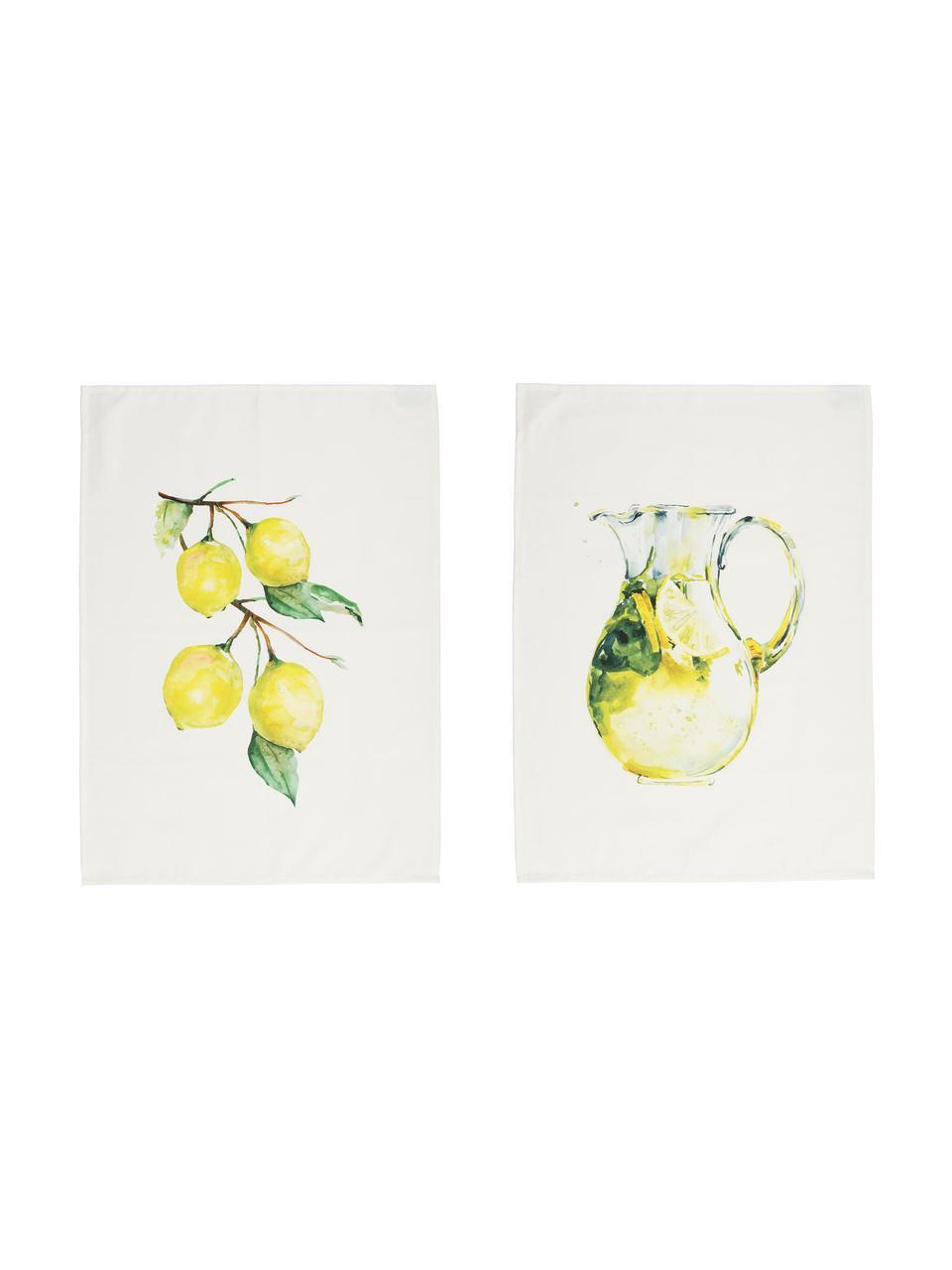Theedoeken Citronade met citroenmotieven, 2 stuks, 100% katoen, Wit, geel, groen, 50 x 70 cm