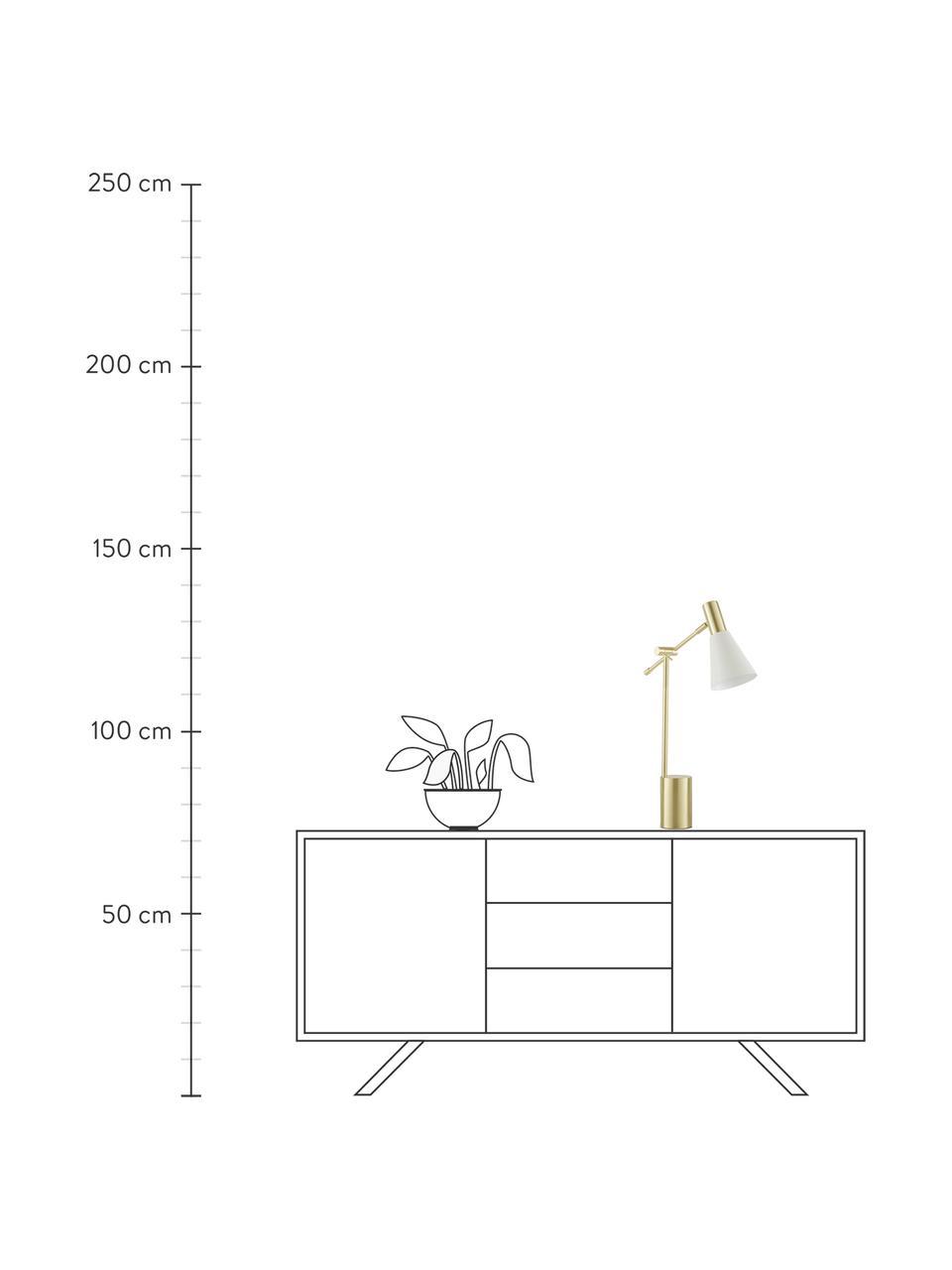 Lampa biurkowa z metalu Sia, Biały, odcienie mosiądzu, Ø 13 x W 63 cm