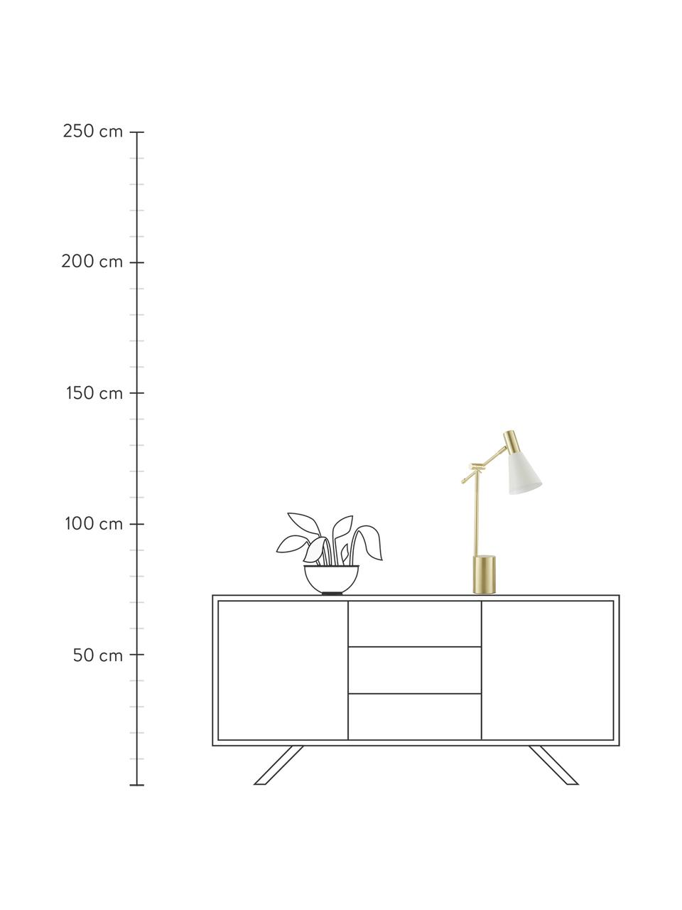 Lampada da scrivania in metallo Sia, Paralume: Metallo verniciato a polv, Base della lampada: Metallo ottonato, Bianco, ottonato, Ø 13 x Alt. 63 cm