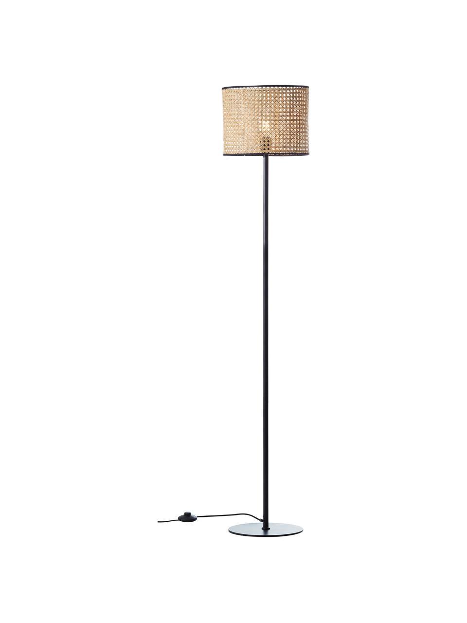Lampa podłogowa z rattanowym kloszem  Wiley, Rattan, czarny, Ø 30 x W 154 cm