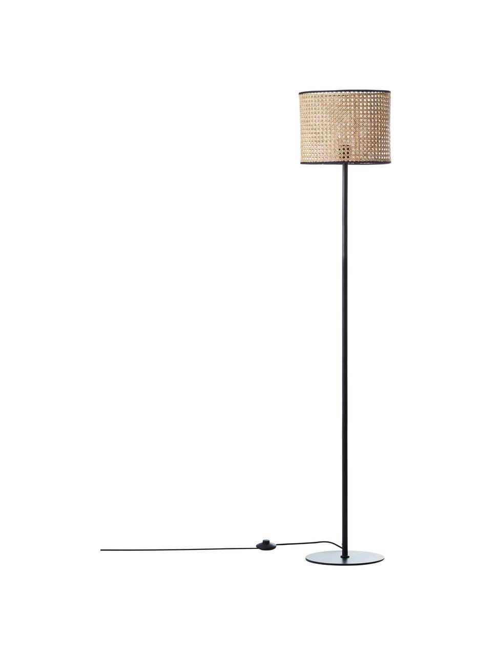Lampada da terra con paralume in rattan Wiley, Paralume: rattan, Base della lampada: metallo, Rattan, nero, Ø 30 x Alt. 154 cm