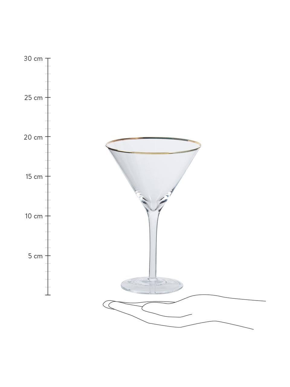 Martinigläser Chloe in Transparent mit Goldrand, 4 Stück, Glas, Transparent, Ø 12 x H 19 cm