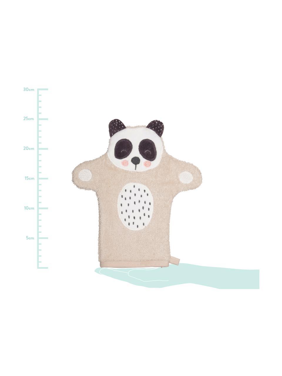Waschlappen Panda Penny aus Bio-Baumwolle, 100% Biobaumwolle, Beige, Weiß, Dunkelgrau, 21 x 25 cm