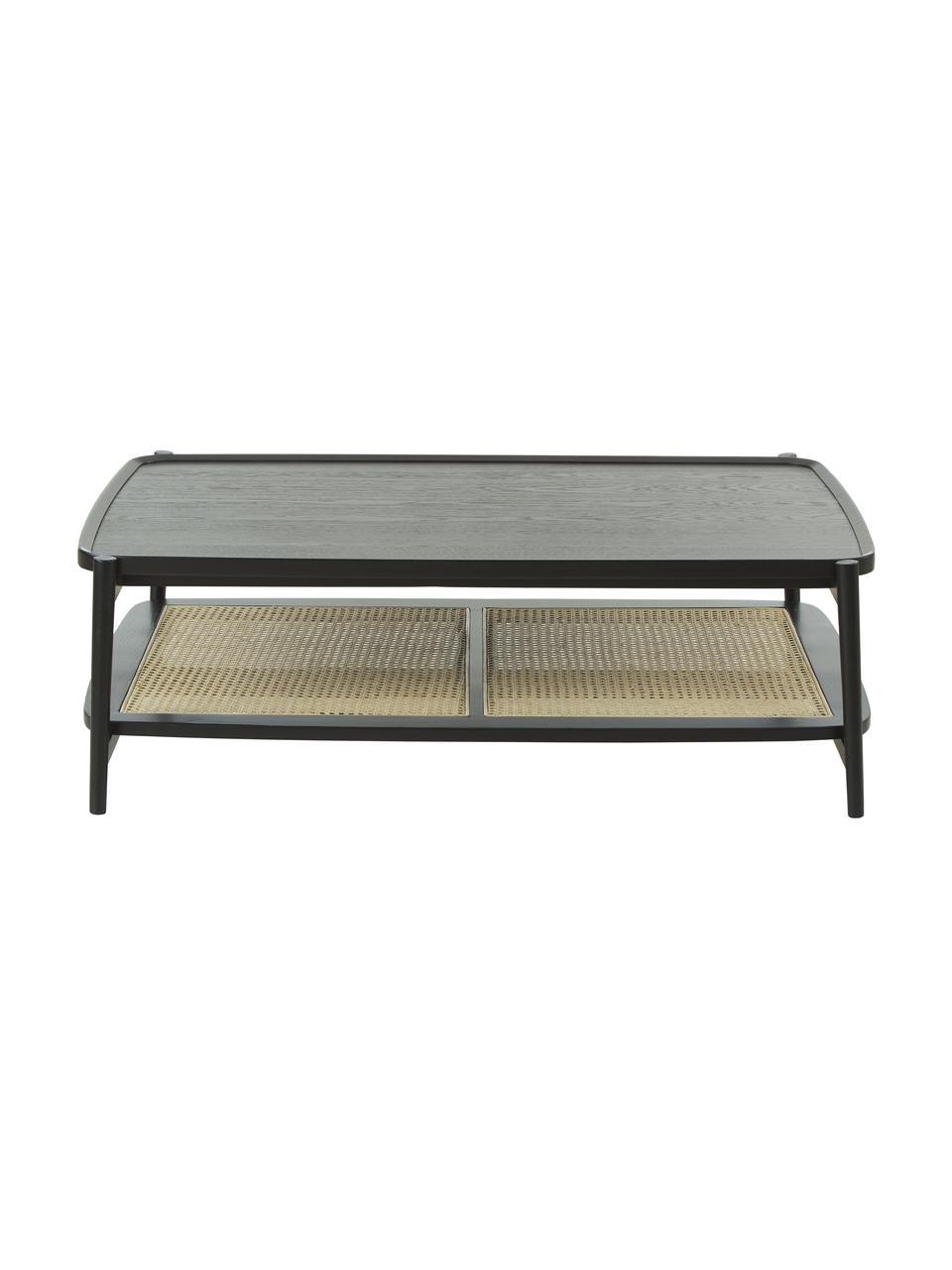 Table basse bois de chêne et cannage Libby, Noir, beige