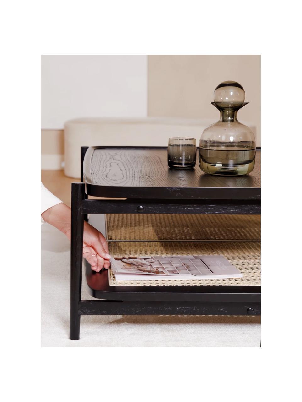 Stolik kawowy z drewna dębowego Libby, Blat: lakierowany fornir z drew, Stelaż: lite drewno dębowe, lakie, Czarny, beżowy, S 110 x W 35 cm