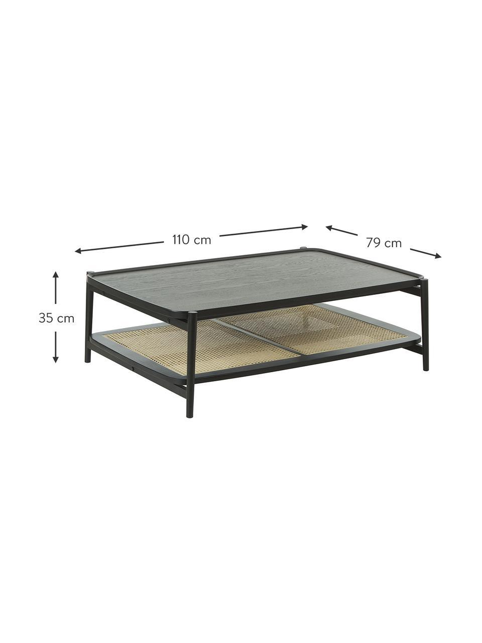 Tavolino da salotto in legno di quercia nero con intreccio viennese Libby, Ripiano: rattan, Struttura: legno massiccio di querci, Nero, Larg. 110 x Alt. 35 cm