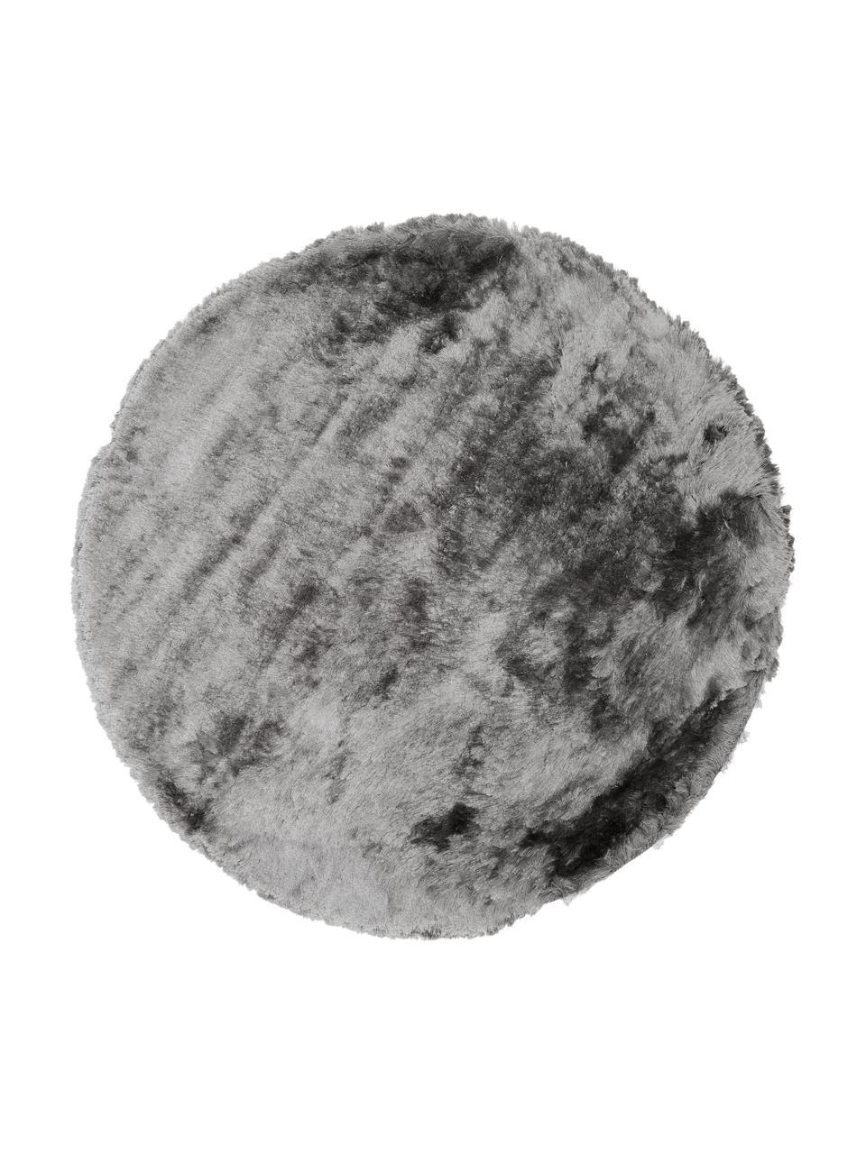 Glänzender Hochflor-Teppich Jimmy in Hellgrau, rund, Flor: 100% Polyester, Hellgrau, Ø 200 cm (Größe L)