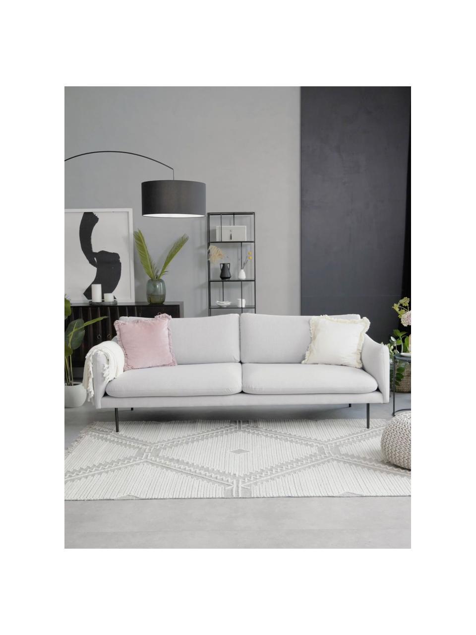 Bank Moby (3-zits) in lichtgrijs met metalen poten, Bekleding: polyester, Frame: massief grenenhout, Poten: gepoedercoat metaal, Lichtgrijs, B 220 x D 95 cm