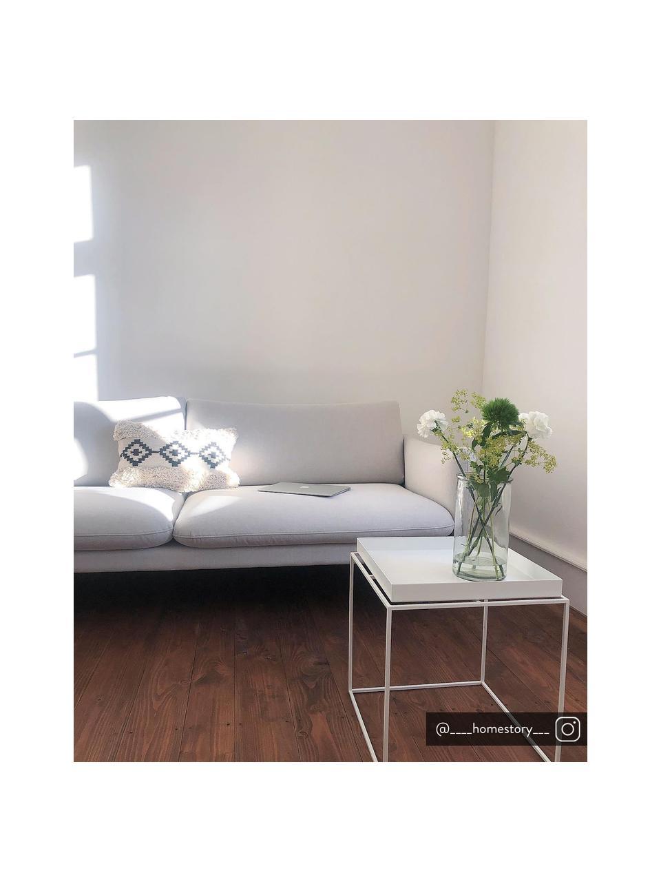 Sofa Moby (3-Sitzer) in Hellgrau mit Metall-Füßen, Bezug: Polyester Der hochwertige, Gestell: Massives Kiefernholz, Füße: Metall, pulverbeschichtet, Webstoff Hellgrau, B 220 x T 95 cm
