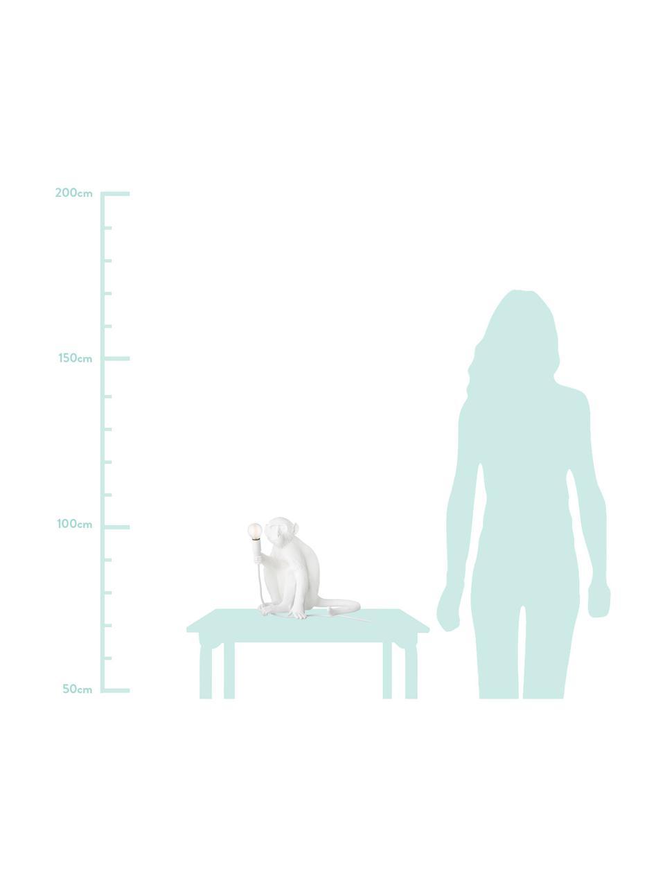 Kleine Design Tischlampe Monkey, Weiß, 34 x 32 cm