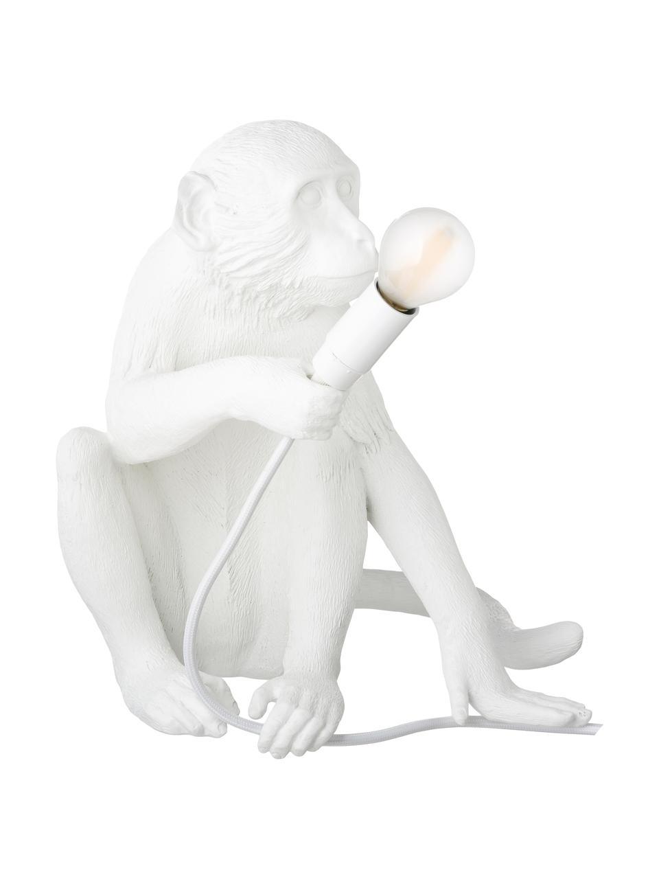 Lampada da tavolo di design Monkey, Lampada: resina sintetica, Bianco, Larg. 34 x Alt. 32 cm