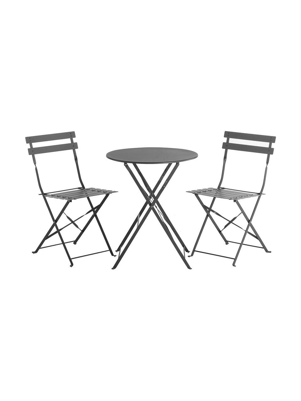 Set tavolo e sedie da balcone in metallo Chelsea 3 pz, Metallo verniciato a polvere, Grigio scuro, Set in varie misure