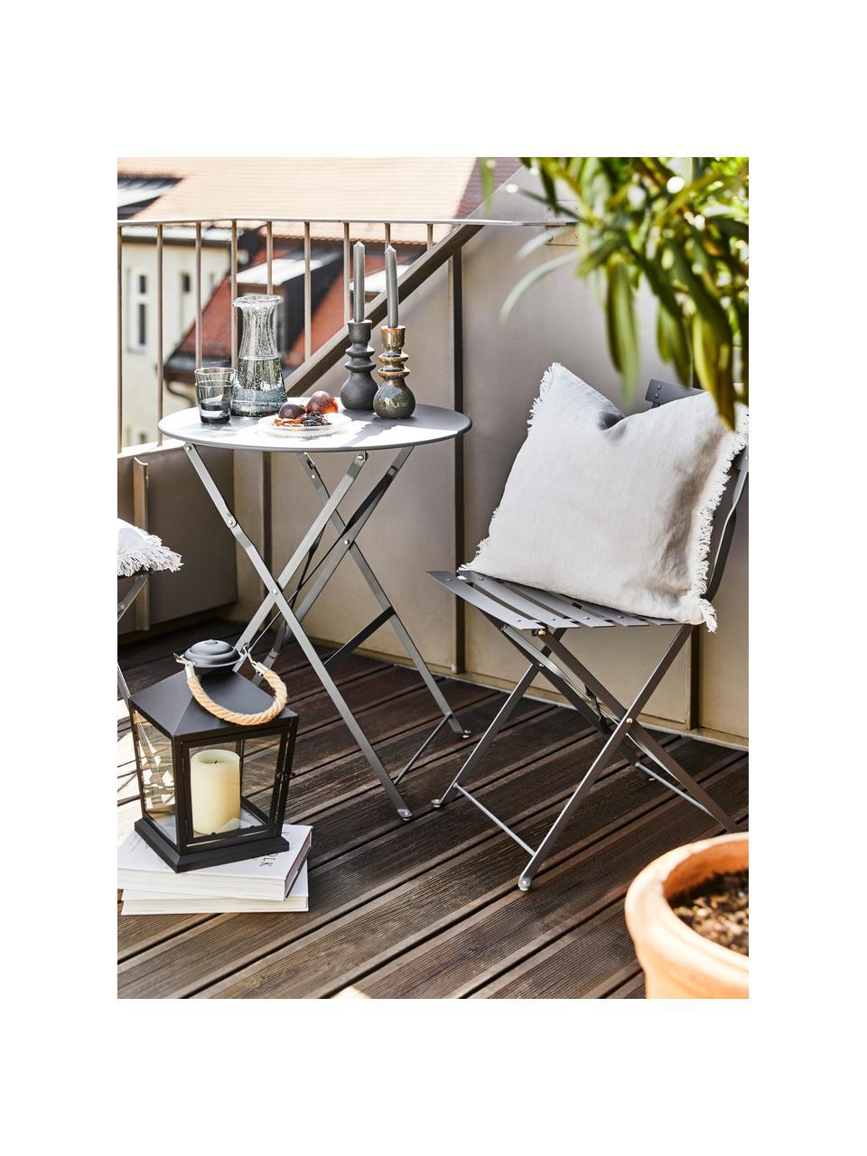 Balkon-Set Chelsea aus Metall, 3-tlg., Metall, pulverbeschichtet, Dunkelgrau, Sondergrößen