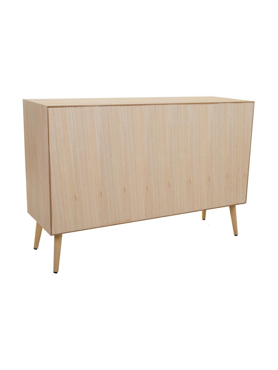 Komoda z drewna Cayetana, Korpus: płyta pilśniowa średniej , Nogi: drewno bambusowe, lakiero, Brązowy, S 120 x W 81 cm