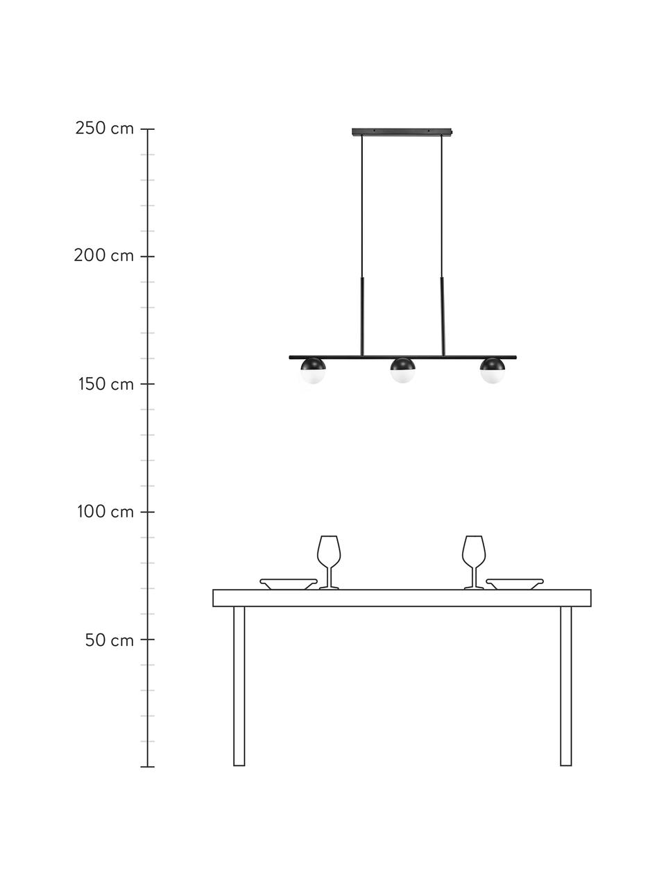 Duża lampa wisząca ze szkła opalowego Contina, Biały, czarny, S 90 x W 42 cm