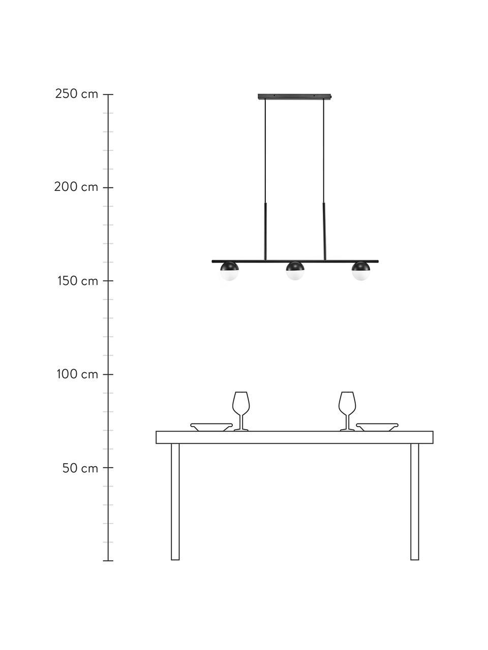 Lampada a sospensione in vetro opale Contina, Paralume: vetro, Struttura: metallo rivestito, Baldacchino: metallo rivestito, Bianco, nero, Larg. 90 x Alt. 42 cm