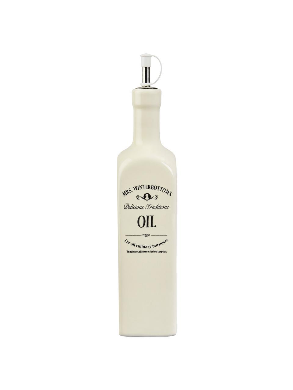 Ölspender Mrs Winterbottoms, Steingut, Edelstahl, Kunststoff, Creme, Schwarz, 7 x 33 cm
